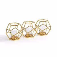 DanyaB Sparkling Gold Polyhedron Triple Candle Holder