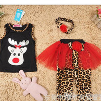 Retail Baby Suits Girls' Clothes tutu dresses Headbands T-shirts Tights Leggings pant Tees Trousers Children's Outfits Sets A4850
