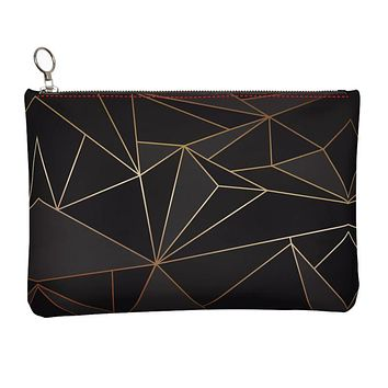 Abstract Black Polygon with Gold Line Leather Clutch Bag by The Photo Access