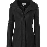 LE3NO Womens Fleece Military Pea Coat Jacket with Pockets (CLEARANCE)