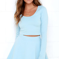 Stratosphere Light Blue Two-Piece Skater Dress