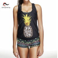 2017 Pineapple Print Tankini Shorts Plus Size Swimsuit Women Trunk Sports Swimwear Floral Strappy Bathing Suit 3 Piece Beachwear