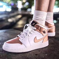 NIKE Air Jordan 1 New Women's Champagne Gold High-Top Sneakers