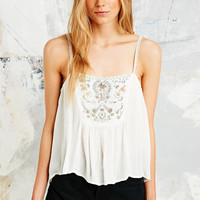 Ecote Beaded Front Cami in Ivory - Urban Outfitters