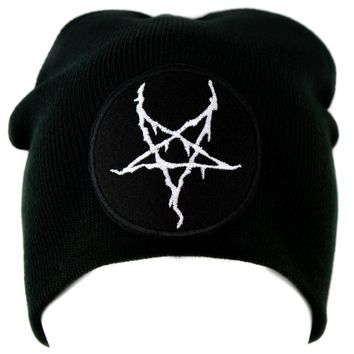 White Thorn Jagged Inverted Pentagram Knit Cap Beanie Occult