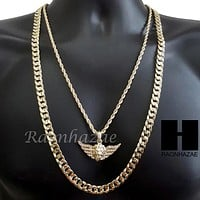 "MEN GOLD MIGOS LION CROSS CHARM CUT 30"" CUBAN LINK CHAIN NECKLACE S085G"