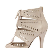 My Delicious Caper Light Taupe Cutout Peep Toe Booties