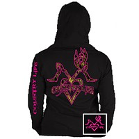 Country Life Outfitters Black & Pink Deer Kiss Heart Love Hunt Bright Hoodie