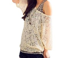 Allegra K Ladies Beige Scoop Neck Half Sleeves Lace Shirt M w Tank Top