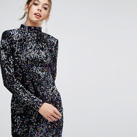 PrettyLittleThing Long Sleeve Sequin Dress at asos.com