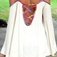 White Off-Shoulder Bell Sleeve Top