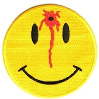 """Embroidered Iron On Patch - Shot Smiley Face 3"""" Patch"""