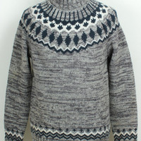 High Neck Ribbed Trim Knitted Pullover Printed Sweater