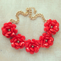 Pree Brulee - Large Coral Blooms Statement Necklace