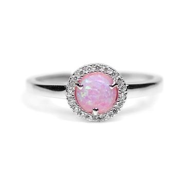 Sterling Silver Light Pink Opal and CZ Halo Ring