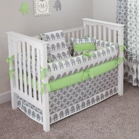 CUSTOM BOUTIQUE BABY BEDDING - Ele Green - 5 Pc Crib Bedding Set