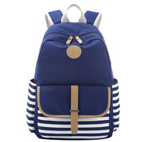 Navy Blue and White Striped Canvas College School Bookbag Backpack Travel Daypack