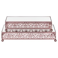 2-Piece Rectangular Mirror-Top Decorative Tray Dessert Stand Set (Rose Gold)
