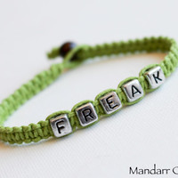 Clearance Sale, Lime Green Freak Bracelet, Couples Gift Idea, His Hers, Quirky Sarcastic Anniversary Gift, Best Friends Macrame Hemp Jewelry