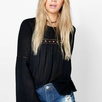Willow Woven Wide Sleeve Top