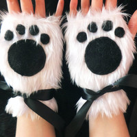 Cute White Furry Panda Polar Bear Arctic Cat Fox Wolf Paw Print Fingerless Gloves Wrist Warmers Kawaii Halloween Winter