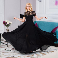 2017 Fashion Women Summer Sexy Formal Short Sleeve Elegant Floral Black Lace Perspective Dress Party Long Maxi Dress