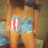 American flag short USA Red White and Blue Fourth of July Levi High waisted jean shorts Indie Hipster clothing