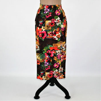 Tropical Skirt Colorful Floral Butterfly Parrot Rayon Novelty Print High Waisted Medium Petite Carole Little Vintage Clothing Womens Skirts