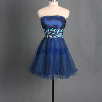 Short navy tulle homecoming dress with sequins,cheap satin prom dresses under 150,chic women gowns for party.
