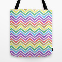 colorful chevron zigzag rainbow graphic pattern. Tote Bag by PatternWorld