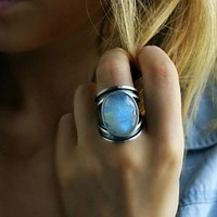 Women Big Moonstone Wedding Ring
