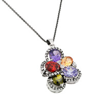 .925 Sterling Silver Flower Cubic Zirconia Necklace
