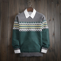 Men's Ethnic Fair Isle Knitwear Soft Chevron Sweater