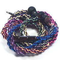 Designer Tie-Dye MyBuds Wrapped Headphones Tangle Free Earbuds Your Choice of Headphones
