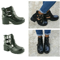 Ladies Womens New Low Heel Zip Up Ankle Cut Out Grunge Style Boots Shoes Size