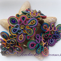 Soutache Jewelry Unusual Handmade Soutache Jewelry Beautiful Jewellery Set Rainbow Bracelet and dangle earrings