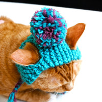 Pom Pom Cat Hat - Teal and Pink