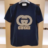 GUCCI cotton men and women round neck half-sleeved T-shirt