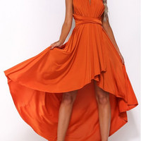 V-Neck Sleeveless Criss-Cross Backless Asymmetric Midi Dress