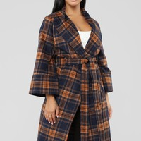 Plaid Around Belted Coat - Navy/Mustard