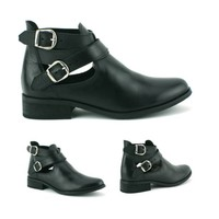 WOMENS LADIES FLAT BUCKLE CUT OUT REAL LEATHER BLACK ANKLE BOOTS SHOES SIZE