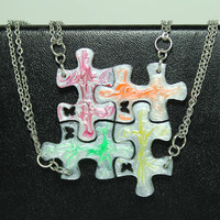 Friendship Puzzle Pendants 4 piece set White Pearl with colors Linking pendants