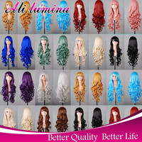 Harajuku Cosplay Wig Party Women Sexy Long Curly Costume Synthetic Hair Ladies Blonde White Red Blue Wigs Female Peruca Pelucas