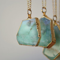 MINT /// Chrysoprase Necklace /// 24kt Gold Electroformed /// Layering, Natural, Stone, Bohemian