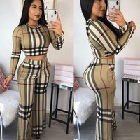 Burberry Newest Women Long Sleeve Top Pants Two-Piece