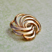 Vintage Napier, Gold Tone Swirl Brooch Scatter Pin, Womens Estate Abstract Jewelry, Wife Girlfriend Mom Sister Daughter Friend Gift for Her