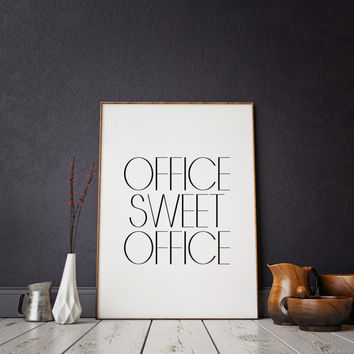 Office Sweet Office,Office Decor,Printable Art Office Desk,Office Sign,Office Art,Inspirational Print,Wall Art,Black And Gold,Gold Foil