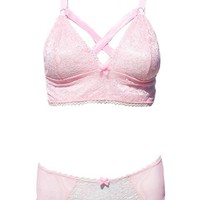 Kawaii Pastel Pink Lace Caged Bra & Panties