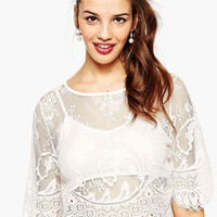 White Floral Lace Cropped Top