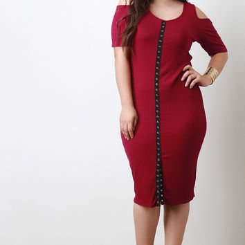 Cold Shoulder Button Front Dress